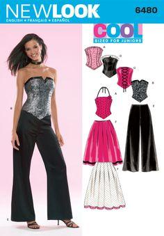 Juniors Corset Top, Pants Sewing Pattern 6480 New Look