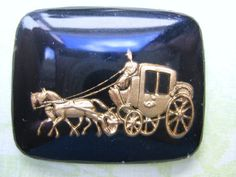 Vintage glass CInderella cameo or cab romantic stagecoach - black gold