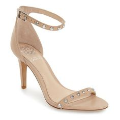 "Vince Camuto 'Cassandy' Studded Sandal, 3 1/2"" heel (170 AUD) ❤ liked on Polyvore featuring shoes, sandals, powder blush napa leather, ankle tie flat sandals, studded sandals, stiletto sandals, vince camuto shoes and vince camuto sandals"