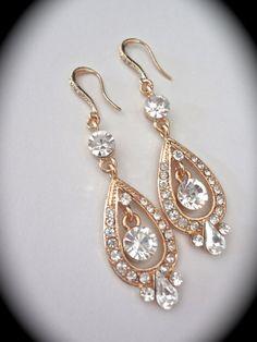 Bridal jewelry  Gold rhinestone earrings  by QueenMeJewelryLLC
