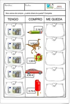"""¿Cuánto dinero te queda?"" (Fichas de resta con decimales de Primaria) Teaching Time, Teaching Spanish, Teaching Math, Teaching Resources, Decimal, Money Activities, Primary Activities, Go Math, Math For Kids"