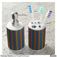 Pinstripe Rainbow Soap Dispenser And Toothbrush Holder