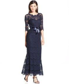 Xscape Illusion Lace Ribbon-Belt Gown