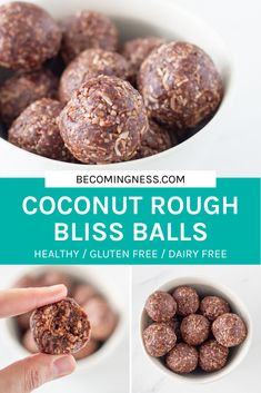 Made with only 5 simple ingredients, these coconut rough bliss balls are going to become your new go-to bliss ball. They also make a perfect addition to your child's lunchbox! Free from dairy, gluten, grains nuts, eggs and refined sugar. Dairy Free Recipes, Raw Food Recipes, Sweet Recipes, Snack Recipes, Cooking Recipes, Gluten Free Meals, Healthy Recipes, Yummy Healthy Snacks, Easy Snacks