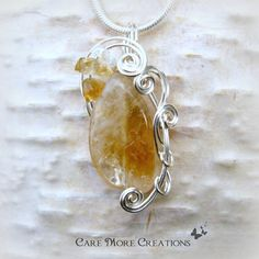 Yellow Citrine Wire Wrapped Pendant Necklace in Silver by CareMoreCreations.com, $29.00
