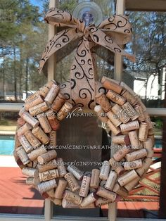 I need to drink more wine.. so i can make this :)Recycled Wine Cork Wreath, Cork Wreath, Wreath, Burlap Ribbon and Bow
