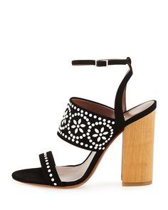 Tabitha Simmons Blaze Beaded Suede Sandal with Wooden block Heel is a great everyday shoe that looks as great with dresses as it does with a simple pair of jeans and t-shirt.
