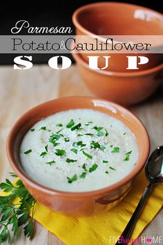 Parmesan Potato and Cauliflower Soup ~ the flavor of creamy potato soup with the vitamins of cauliflower.kids and adults alike will love this one! Slow Cooker Recipes, Crockpot Recipes, Soup Recipes, Cooking Recipes, Recipies, Creamy Potato Soup, Parmesan Potatoes, Eating For Weightloss, Sausage Soup