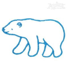 "Polar Bear Outline Embroidery Design. Size: 2.06"" x 1.26"" Polar Bear Outline, Tribal Bear, Bear Cartoon, Applique Embroidery Designs, Bear Art, Christmas Embroidery, Sewing Projects, Clip Art, Glass Etching"