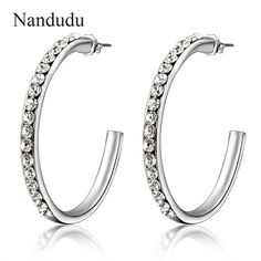 c8cc752fd56f Click to Buy    Nandudu 2017 Fashion Hoop Earrings White Gold Color Austrian