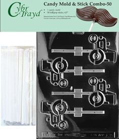 Cybrtrayd 45St50-J035 Tractor Lolly Chocolate Candy Mold with 50 Cybrtrayd 4.5
