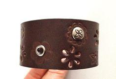 Womens Studded Brown Bracelet Cuff  by ChristyKeysCreations, $12.00