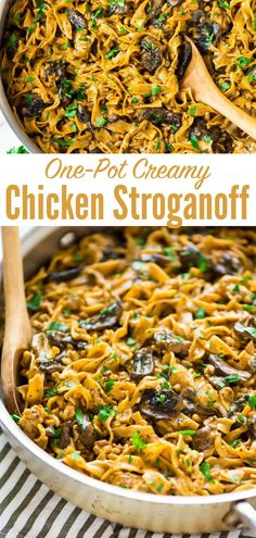 Quick, easy, and delicious One Pot Creamy Chicken Stroganoff! A healthy, homemade version of everyone's favorite comfort food. Ready in 30 minutes! Quick Recipes, Cooking Recipes, Healthy Recipes, Creamy Chicken, Healthy Chicken, Chicken Stroganoff, Greek Yogurt Recipes, Incredible Recipes, Easy Healthy Dinners
