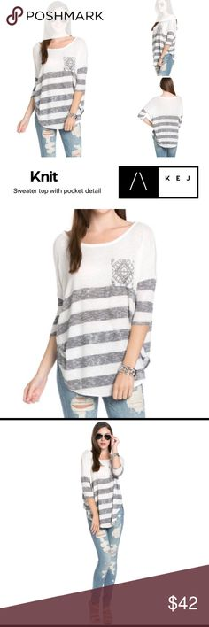 Striped Knit Sweater Striped Knit Sweater  Gray and white striped knit sweater with pocket boho detail. Lightweight knit sweater pullover top. ¾ length sleeve, made in the USA. Gray stripe is a charcoal color. Pocket detail on front breast. True to size, comes in small medium and large. Sweaters
