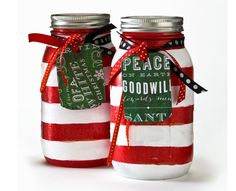 Craft Painting - Candy Cane Cookie Recipe Jar