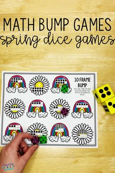 These fun math bump game boards will keep your kindergarten students engaged in guided math stations.  Roll and cover dice games are a simple way to practice basic addition and subtraction facts and to build a strong number sense.  Kids will love learning to subitize with these printable activities! Learn more about how to use these games to differentiate your math centers! #dicegames #mathgames Numbers Kindergarten, Kindergarten Activities, Dice Games, Math Games, Guided Math Stations, Addition And Subtraction, Fun Math, Math Resources, Math Centers