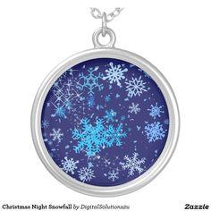 Christmas Night Snowfall Round Pendant Necklace
