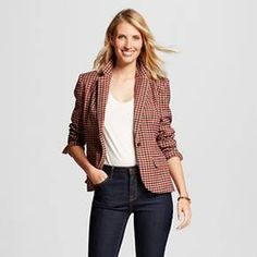 Women's Houndstooth Tailored Blazer Camel - Merona™ : Target