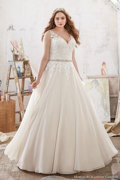 morilee julietta spring 2017 bridal sleeveless lace strap v neck heavily embellished bodice romantic princess plus size a  line wedding dress v back chapel train (3214) mv