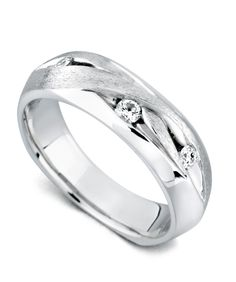 The Marvel ring has a satin and high polish finish and contains 3 diamonds, totaling 0.17ctw.