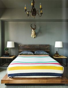 Minus the taxidermy please... Neutral Surroundings / Colorful Stripes {via la maison boheme}