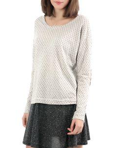 #Jersey Double Agent Felpa topos cuello antelina.Color blanco, 12,99€ en www.doubleagent.es #fashion #trends #ropa