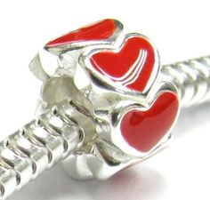 Queenberry sterling silver endless love red heart bead charm for Pandora Troll Chamilia Biagi European Jewelry. #giftideas #love