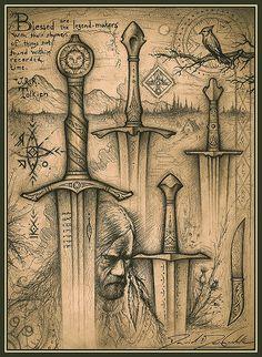 Tauremorna Black-Forest Swords Art Print by Cedarlore Forge - David DelaGardelle - X-Small Fantasy Sword, Fantasy Weapons, Fantasy Art, Celtic Sword, Viking Sword, Sword Tattoo, Dagger Tattoo, Sword Drawing, Sword Art