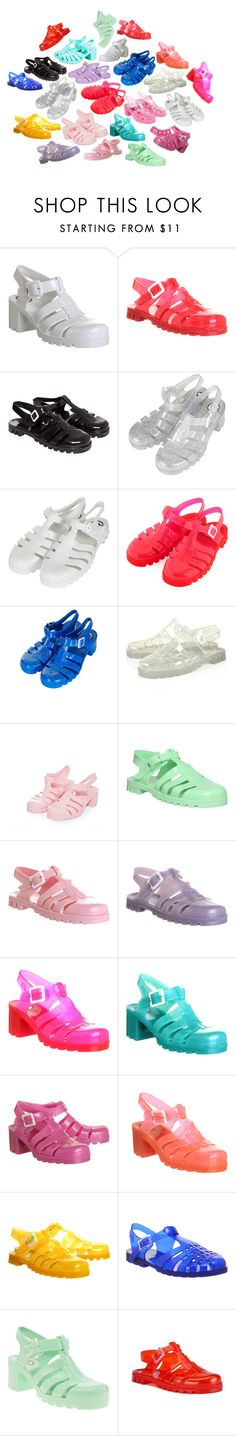 """Jelly Sandals"" by headshapes ❤ liked on Polyvore featuring JuJu, Topshop, sandals, gladiators, jelly and juju"