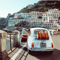 """rakehound: """"The Amalfi coast looks so much better from the driver's seat of a classic Fiat 500. Photo by @luxconduct. (at Amalfi Coast) """""""