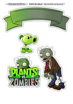 Topo de Bolo plants Vs Zombies Plants Vs Zombies, Zombies Vs, Zombie Birthday Parties, Zombie Party, Boy Birthday, Bolo Halloween, Holidays Halloween, Zombie Clipart, Plantas Versus Zombies