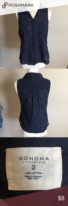 Blue Sleeveless Tank (49) Cute summery sleeveless button up tank. Has geometric pattern. No flaws. Size small, 17 inch bust, 24 inches long. Sonoma Tops Tank Tops