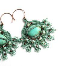 Chiacchierino pizzo orecchini di perline turchese di KnotTherapy