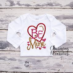 Be Mine Baby Toddler Girl Valentines Day Glitter Top - Red Gold - Charming Necessities
