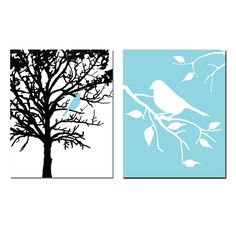 Set of Two 8 x 10 Prints Birds and Trees Perfect for by Tessyla
