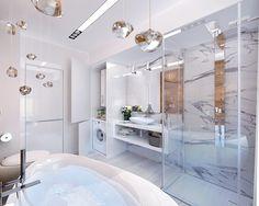 Ванная с необычными элементами интерьера.