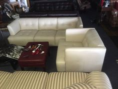 "This is a very high quality Italian leather set.  Beautiful design.  This furniture is all high quality, top grain all leather.  NOT A BLEND or leatherette like you'd find at the cheap discount stores.  These pieces have leather on the sides and backs too, not just the seating surface.  <br>  <br>THIS STUFF IS THE REAL DEAL & IT""S BRAND SPANKIN NEW TOO. <br>  <br>Now you can go to big box stores and buy this same leather living room furniture for twice the price.  Or simply stop in our store…"