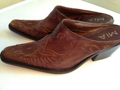 Western Shoes  Cowgirl/Cowboy Slides Mules by TheFlyingBlueMonkey, $34.95