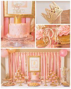 Festa de princesa | Bolo e mesa de doces | Rosa e dourado