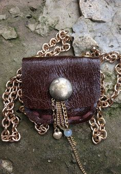 Handmade leather pouch necklace hung from an adjustable chain with brass snap closure. Leather Totes, Leather Pouch, Leather Purses, Handmade Leather, Quartz Crystal, Amethyst, Swag, Brass, Closure