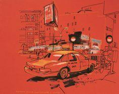 lucinda rogers drawing ink watercolour cityscape street scene yellow taxi cab parking lot houston lafayette soho new york garage night Illustrations, Illustration Art, Lafayette Street, Houston Street, A Level Art, Sketch Inspiration, Urban Sketchers, Gcse Art, Environmental Art