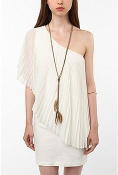 UrbanOutfitters.com > Staring at Stars Pleated Chiffon One-Shoulder Dress
