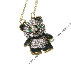 72cm Panda Pendant Sweater Chain Necklace Jewelry Vintage Charms