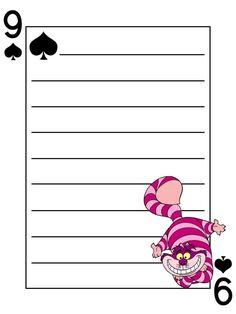 Journal Card - Cheshire Cat - Alice in Wonderland - Playing Card - lines - 3x4 photo dis_572_CheshireCat_playingcard_lines_3x4.jpg