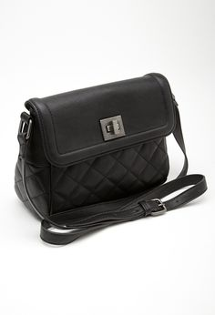 $19, Black Quilted Leather Crossbody Bag: Forever 21 Quilted Faux Leather Crossbody. Sold by Forever 21. Click for more info: https://lookastic.com/women/shop_items/139937/redirect