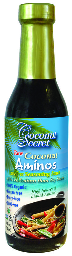 Great substitute for soy sauce: Coconut Secret Coconut Aminos. Has a soy-sauce flavor but coconut has many more health benefits and far less sodium.