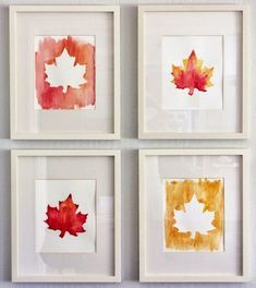 Inspired Honey Bee: craft: diy fall watercolor art home decor autumn Fall Arts And Crafts, Diy And Crafts, Halloween Porch Decorations, Autumn Decorations, Winter Diy, Kindergarten Crafts, Diy For Kids, Autumn Leaves, Fall Decor