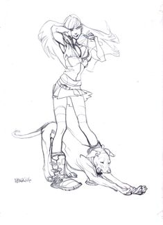 Claire Wendling Bra adjusting and the Stretching Dog Comic Art ✤✤