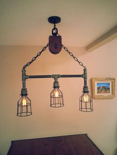 Industrial pipe pulley light #Lighting #Lamp #LightBUlb