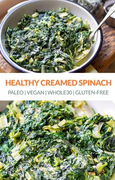 Made with curry … Healthy Creamed Spinach (Paleo Vegan Gluten free Keto). Made with curry … Healthy Creamed Spinach, Frozen Spinach Recipes, Healthy Spinach Recipes, Sauteed Spinach, Paleo Vegan, Vegetarian, Paleo Food, Paleo Diet, 30 Diet